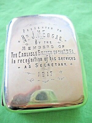 World War 1 period 1917 solid silver cigarette case National Military connection
