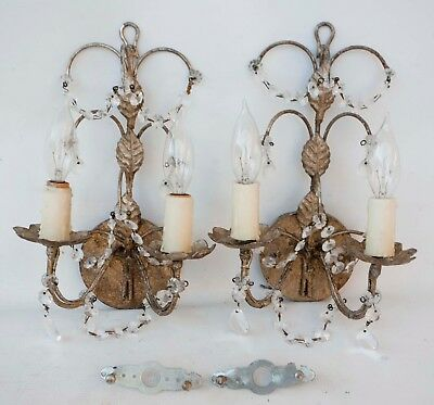 Pair Cast Metal Matching Wall Sconce Light Fixtures with Crystal Prisms