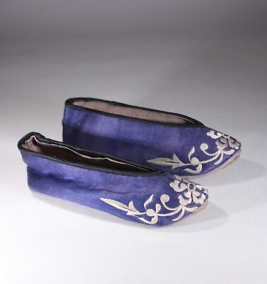 Antique Chinese Blue & White Embroidered Bound Foot Lotus Shoe Pair