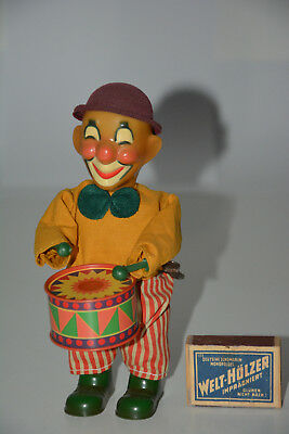 Clown Trommler vintage Aufziehfigur Mechanik funktioniert wind up toy working