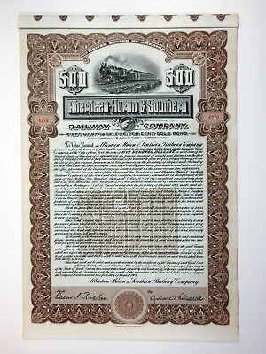 MS. Aberdeen-Huron & Southern Railway Co., $500 Issued 5% Gold Bond XF Rare