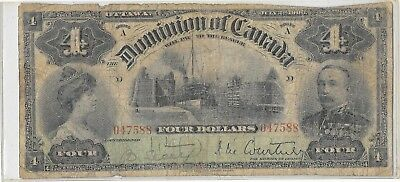 1900 Dominion of Canada Canadian 4 dollar paper linen bill series A RARE !!!