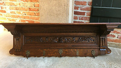 Antique French Carved Tiger Oak Wall Shelf Coat Rack CORNICE CORBEL Renaissance