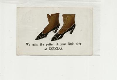 1916 cancelled postcard, 'we miss the patter of your little feet at DOUGLAS'
