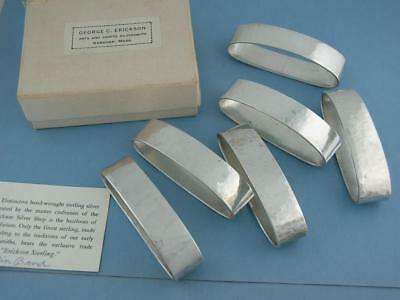 6 Sterling GEORGE ERICKSON Napkin Rings ARTS & CRAFTS handwrought hammered w/Box