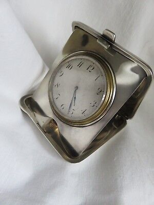 Antique Sterling Silver 8 Day Working Travel Clock Eterna W & Co Swiss Movement