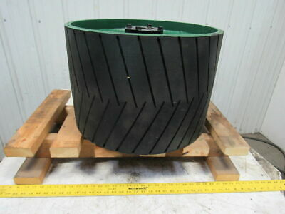 "Conveyor Crowned Pulley Drum Roller 20-3/4""Dx14"" W/Rubber Herringbone Lagging"