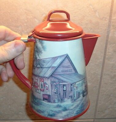 Coca Cola Coffee Pot Blue Enamel Coke Soda Pop Coke Tea Pot (RARE) Gas Station