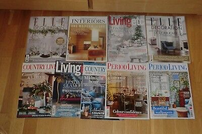 9 December/january Magazines: Country Living, Elle Decoration,period Living Etc
