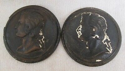 Pair Of Antique Wooden Plaques Featuring Mozart
