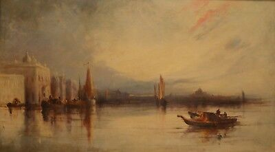 Fine Large Antique 19th Century Venice Oil On Canvas Painting WASLEY