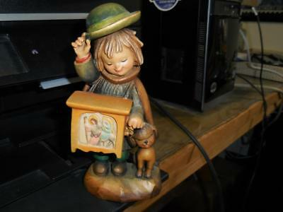 Anri Carved Wood Boy Organ Grinder With Dog