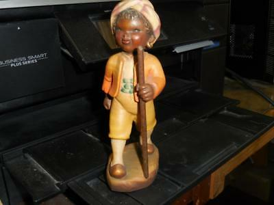 Anri Wood Carved Black Boy With Walking Stick Ferrandiz