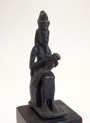 Fine ancient Egyptian bronze Goddess Isis with Horus