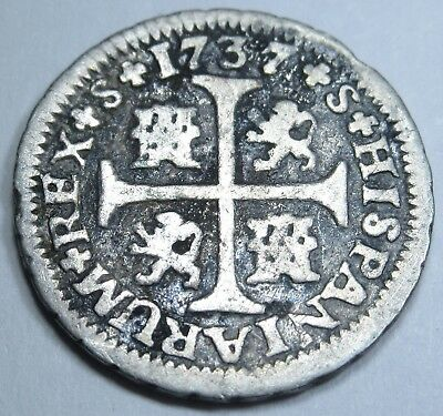 1737 Spanish 1/2 Half Reales Coin Piece Of 8 Real Pirate Shipwreck Treasure?