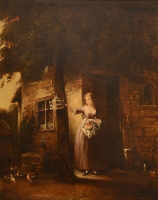 Fine Antique 19th Century Lady With A Birdcage Oil On Canvas Painting MORLAND