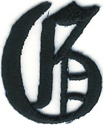 """1 1/8"""" Fancy Black Old English Alphabet Letter G Embroidered Patch"""
