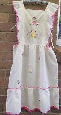 MAID'S APRON Victorian knee length Emroidered Bib, Ruffled Shoulders, Side Ties