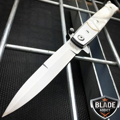 "9"" Italian  Milano Stiletto Tactical Spring Assisted Open Pocket Knife Pearl -W"