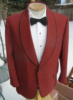 Vintage MAROON RED Tuxedo Jacket 42S - with Shawl-Style Lapels - FREE SHIPPING