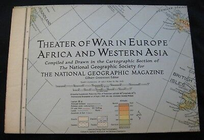Vtg THEATER OF WAR IN EUROPE AFRICA & WESTERN ASIA Map~1945 National Geographic