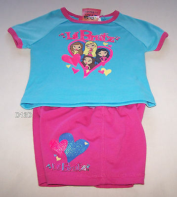 Lil Bratz Girls Blue Pink Printed 2 Piece Pyjama Set Size 3 New