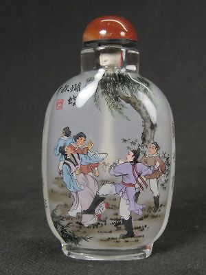 """Chinese Ming Dynasty Story """"Hu Die Bei """" Inside Hand Painted Glass Snuff Bottle"""