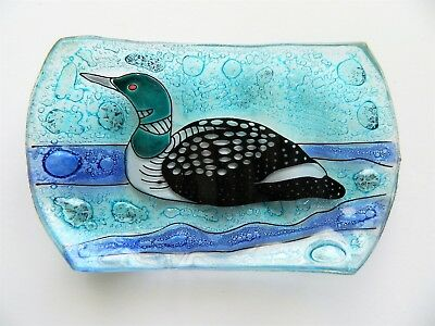 Loon Bird in Pond Fused Art Glass Soap Dish Guest Bathroom Ecuador