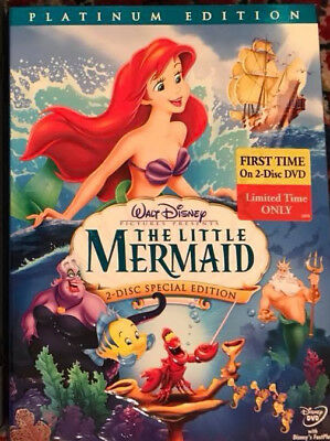 Disney The Little Mermaid (DVD, 2006, 2-Disc Set, Platinum Edition) W/ SLIPCOVER