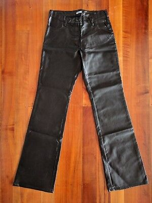 Low Rise Black PVC Jeans/Pant Italian Made Size Large New Soft Leather Look
