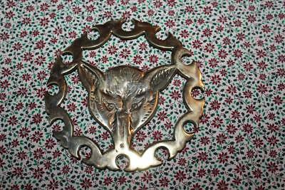 Vintage Fox or Wolf Head Etched Brass Scalloped Edge Footed Trivet