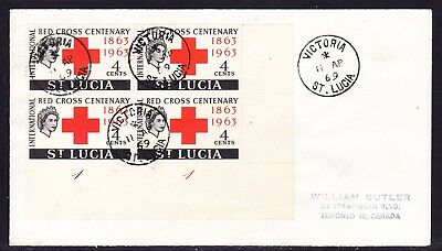 St Lucia 1969 Red Cross Cent Block 4 First Day Cover to  Canada