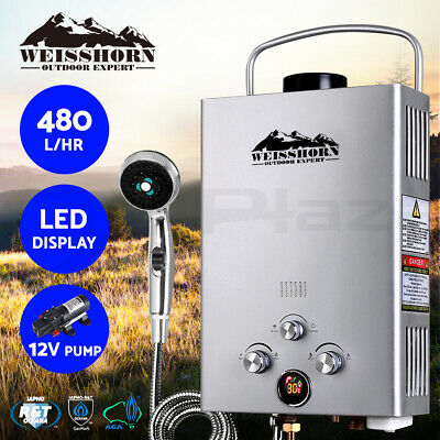 WEISSHORN Gas Hot Water Heater Portable Shower Camping LPG Caravan Pump Silver