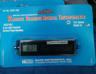 Weiss 25SD-160 Solar Powered Digital Thermometer For Refrigerator / Freezer NSF