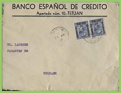 Morocco Agencies 1935 Tetuan cover to Holbaek with KGV 25c  overprint pair