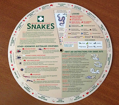 Australian Snakes Essential Information /first Aid Info Wheel Brand New