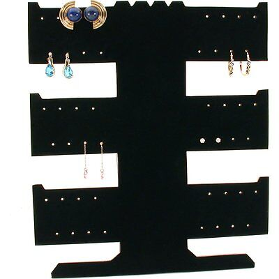 24 Pair Earring Necklace Bracelet T-Bar Black Display