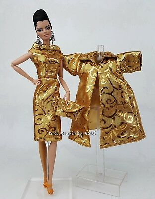 Gold Dress Outfit Gown Coat FoR Silkstone Barbie Fashion Royalty Vintage style