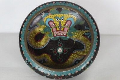 Stunning Antique Chinese Cloisonne Dragon Bowl