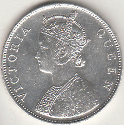 British India Victoria Queen 1862 {B-2, 0/4 Dot} Rupee Silver Coin Nr.about Unc