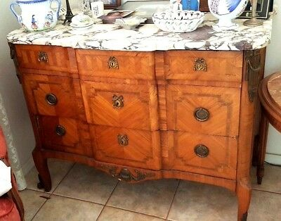 1800's French Louis XVI marquetry, walnut inlaid dresser with marble top