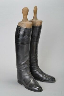 British Cavalry Officer's Early C20th Black Leather Top Boots & Trees. EFS