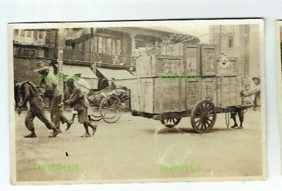 Old Chinese Postcard Goods Transport Hankow Stree China Real Photo Vintage 1920S