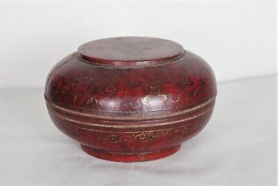 Fantastic Antique Chinese Lacquered and Hand-painted/gilded Round Lidded Box