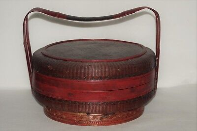 Fantastic Antique Early Chinese Intricately Handwoven Basket