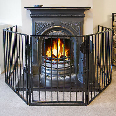 Returned 3 Metre Fire Guard 5 Panel Step-through Safety Metal Screen Black