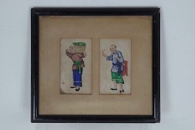 Fabulous Antique Chinese Traditional Pith/Rice Paper Paintings - Framed