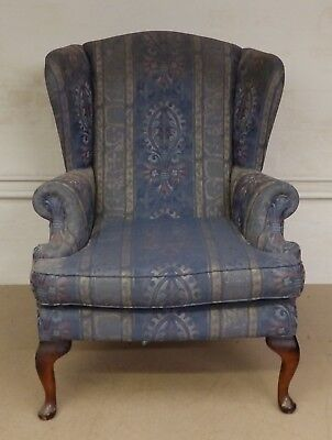 Vintage Style Wing Backed Chair, Queen Anne Legs - Perfect Reupholstery Project!