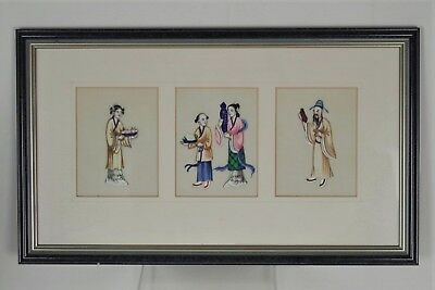 Fabulous Antique Chinese Traditional Pith/Rice Paper Painting - Framed