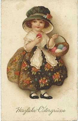 Ellen Clapsaddle (unsign German)  Little girl with basket of Easter Eggs